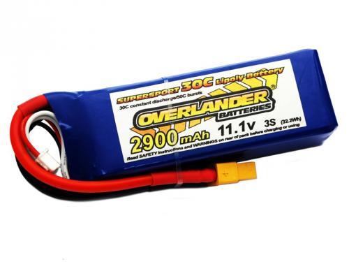 2900mAh 3S 11.1v LiPo Battery 30C - XT60 Connector