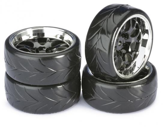 Absima 1:10 Drift Wheel Set - Profile A Tyres - LP Comb Black Wheels (4)