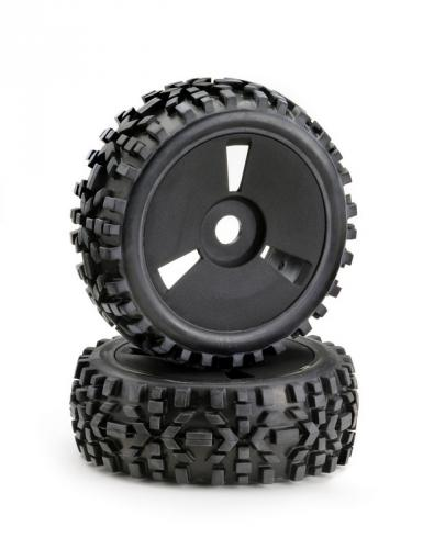 Absima Dirt 1:8 Buggy Tyres Pre Mounted on Black Wheels (2)