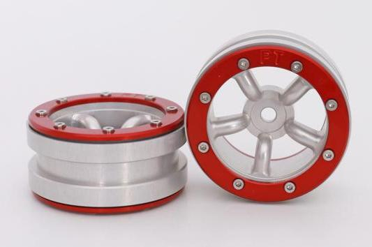 Metsafil Beadlock Wheels PT-Safari Silver/Red 1.9 (2 pcs)?