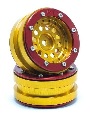Metsafil Beadlock Wheels PT-Bullet Gold/Red 1.9 (2 pcs)