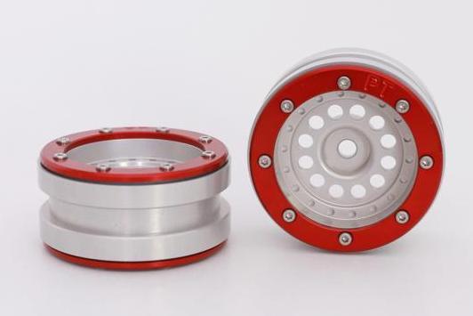 Metsafil Beadlock Wheels PT-Bullet Silver/Red 1.9 (2 pcs)?