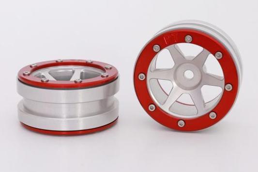 Metsafil Beadlock Wheels PT-Slingshot Silver/Red 1.9 (2 pcs)?