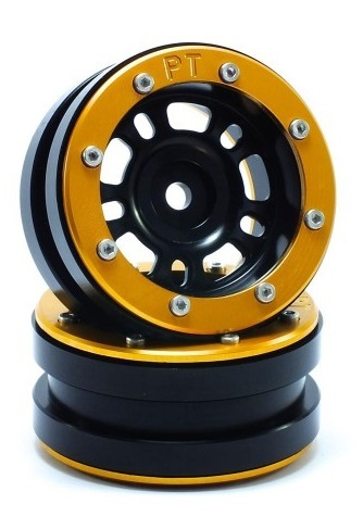 Metsafil Beadlock Wheels PT-Distractor Black/Gold 1.9 (2 pcs)
