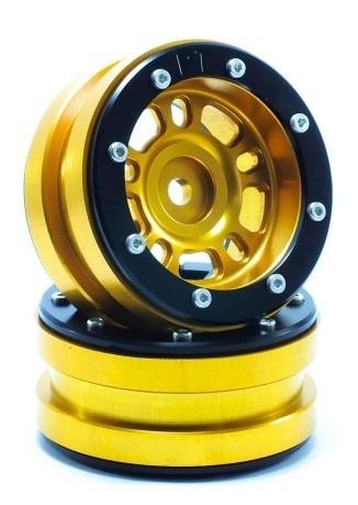 Metsafil Beadlock Wheels PT-Distractor Gold/Black 1.9 (2 pcs)