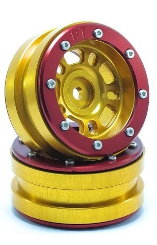 Metsafil Beadlock Wheels PT-Distractor Gold/Red 1.9 (2 pcs)