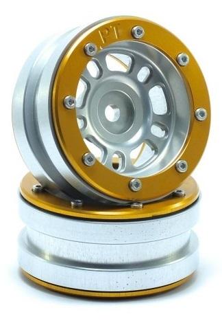 Metsafil Beadlock Wheels PT-Distractor Silver/Gold 1.9 (2 pcs)