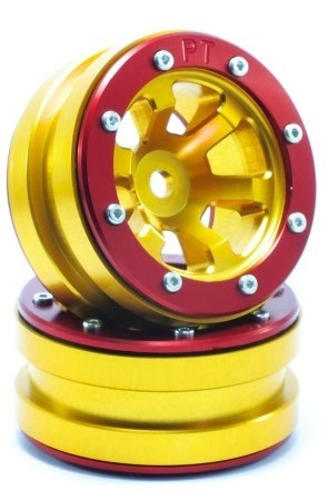 Metsafil Beadlock Wheels PT-Claw Gold/Red 1.9 (2 pcs)