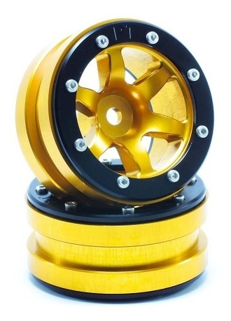 Metsafil Beadlock Wheels PT-Wave Gold/Black 1.9 (2 pcs)