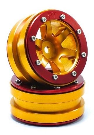 Metsafil Beadlock Wheels PT-Wave Gold/Red 1.9 (2 pcs)