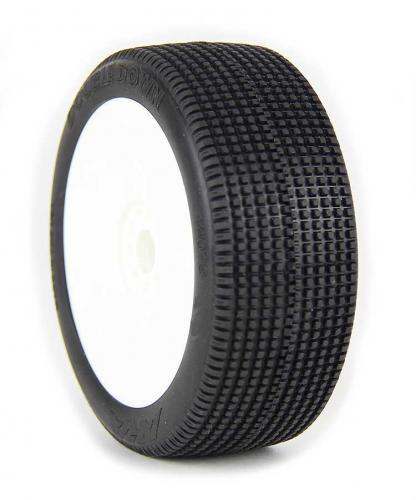 AKA 1:8 Buggy Tyres On Evo White Rims Doubledown Medium Long Wear (2)