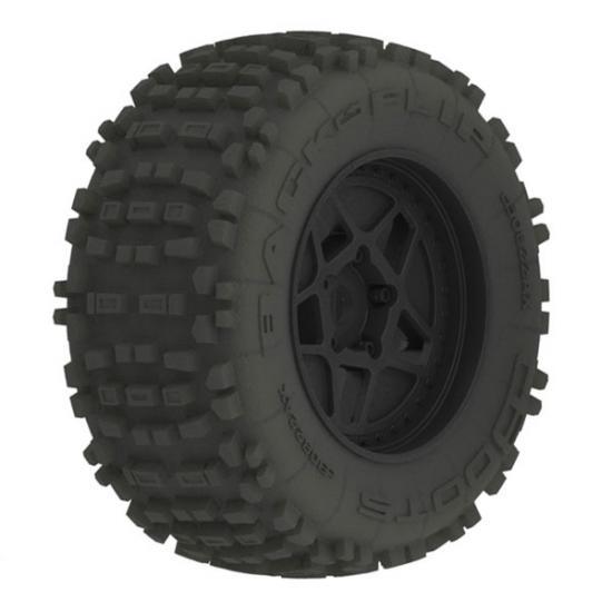 ARAC8795 Arrma DBoots Back Flip MT 6S Tire Set Glued on 17mm Hex Black Wheels - 1 Pair