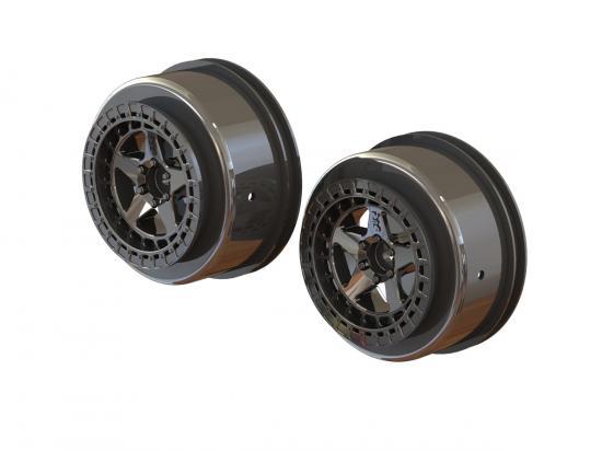 AR510098 Arrma Senton 1:10 Short Course 2.2/3.0 Wheels - 14mm Hex - Black Chrome (2)