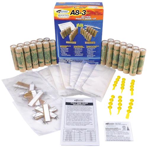 Estes Bulk Rocket Motors - A8-3 (24 Pack) - Includes Motors, Starters, Plugs and Wadding