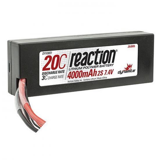 Dynamite Reaction Hard Case LiPo - 7.4V 2S 4000mah 20C - Deans