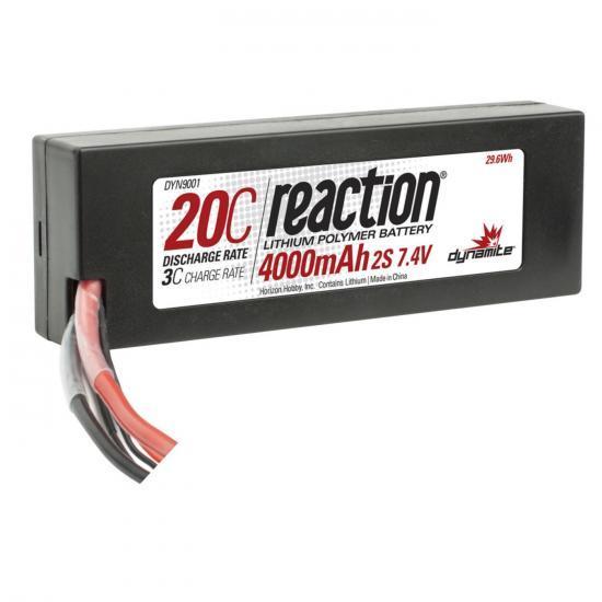 Dynamite Reaction Hard Case LiPo - 7.4V 2S 4000mah 20C - EC3
