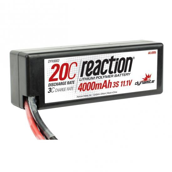 Dynamite Reaction Hard Case LiPo - 11.1V 3S 4000mah 20C - Traxxas Plug