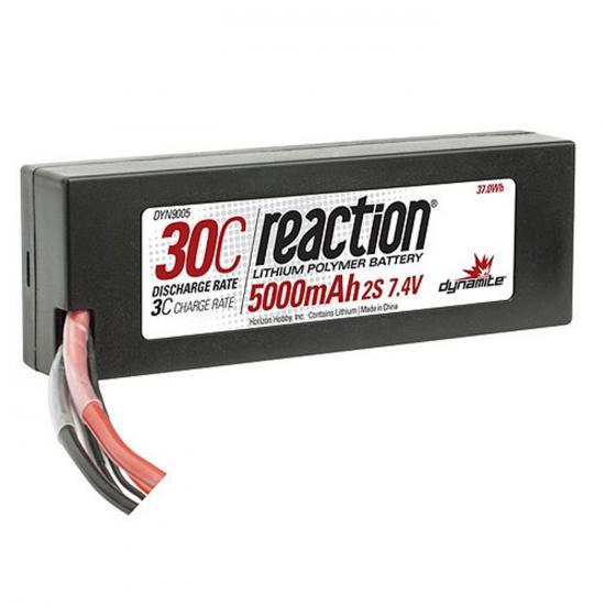 Dynamite Reaction Hard Case LiPo - 7.4V 2S 5000mah 30C - Deans