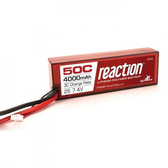 Dynamite Reaction Hard Case LiPo - 7.4V 2S 4000mah 50C - EC3