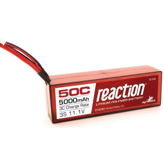 Dynamite Reaction Hard Case LiPo - 11.1V 3S 5000mah 50C - Traxxas Connector