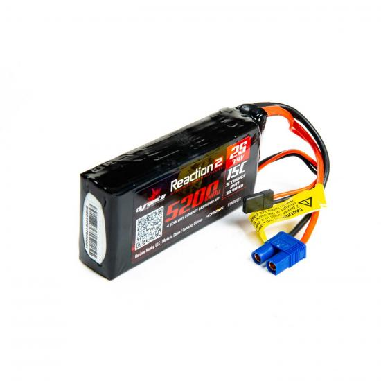 Losi Reaction2 7.4V 5200mAh 2S 15C LiPo - Fits 5IVE-T, Etc