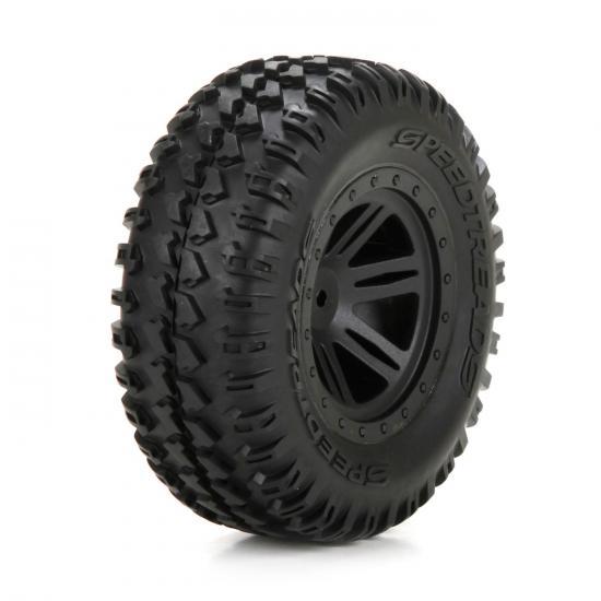 Front Tyre Premount Black Wheel (2): 1:10 AMP DB