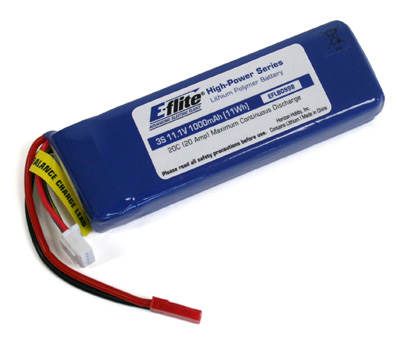 Eflite Blade SR LiPo Battery - 1000mAh 3S 11.1V 15C, 20GA JST/Balance (EFLB0997)