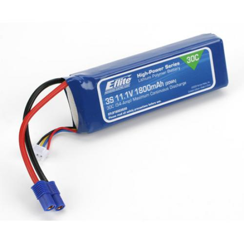 E Flite 1800Mah 3S 11.1volt 30C LiPo with EC3 Connector