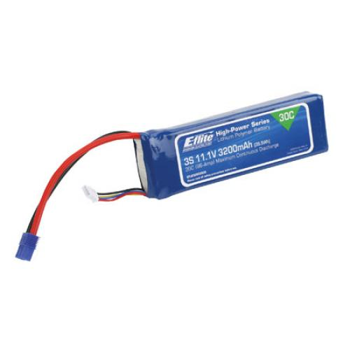 E Flite 3200Mah 3S 11.1v 30C LiPo with EC3 Connectors - (Fits E Flite Apprentice)