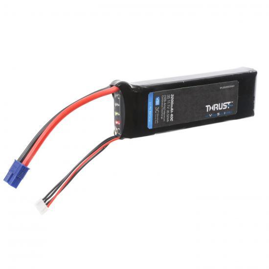 E Flite Thrust VSI LiPo With LED Indicator - 11.1V 3S 3200mAh 40C - EC3 Connector