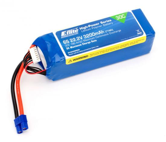E Flite 22.2v 3200mAh 6S 30C LiPo with 12AWG Lead and EC3 connector