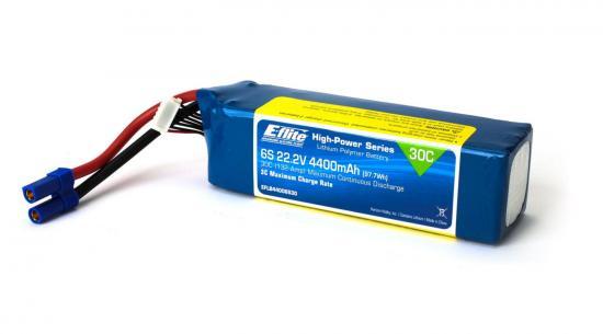 E Flite 4400mAh 6S 22.2volt 30C LiPo - EC5 Connector