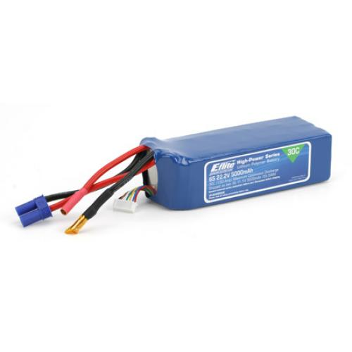 E Flite 5000Mah 6S 22.2v 30C Li-Po With EC5 Connectors