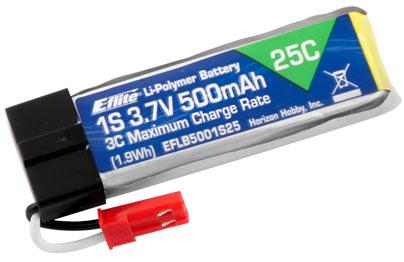 E Flite 500mAh 3.7V 1S 25C LiPo Battery (CA15431)