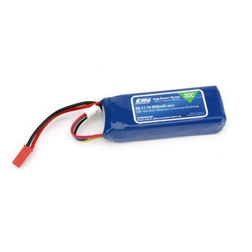 E Flite 800Mah 3S 11.1volt 30C Li-Po 18Ga w/JST Connector