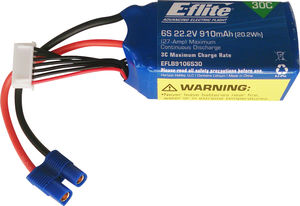 E Flite 22.2v 6S 910mAh LiPo Battery for Blade 270 CF X ** CLEARANCE **