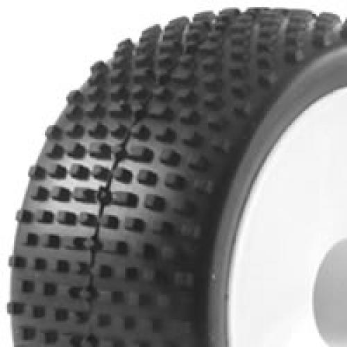 1/10th Pre Glued Buggy Tyres - 12mm Hex - Block Pattern - Rear (2)