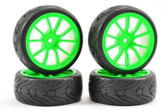Fastrax 1:10 Street Treaded Tyres on 10 Spoke Neon Green Wheels (4)