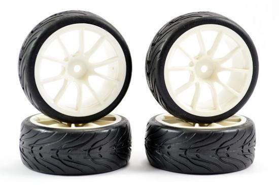 1:10 Street Tyres on 12mm Hex 1:10 Touring Car Wheels - White - Set of 4