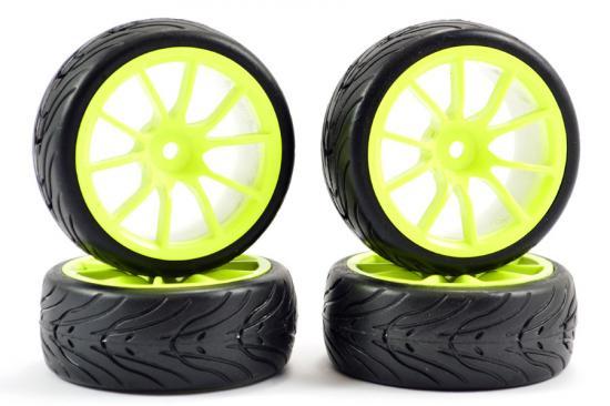 Fastrax 1:10 Street Treaded Tyres on 10 Spoke Neon Yellow Wheels (4)