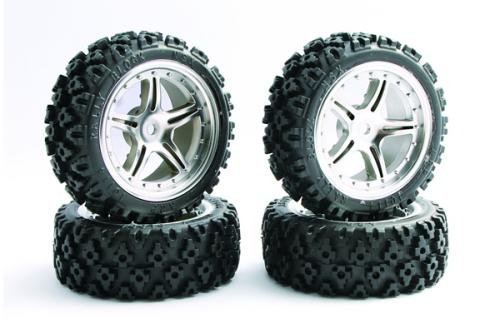 Rally Block Tyres Pre Glued on 1:10 On Road Chrome Wheels (4)
