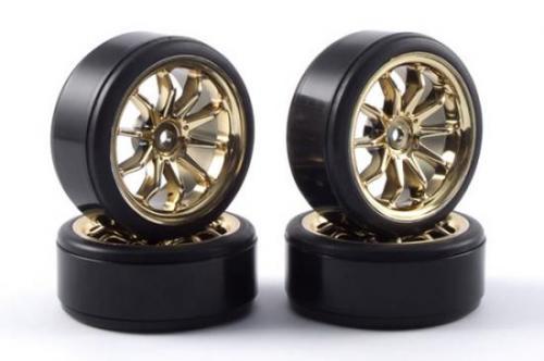 Touring Car Chrome Wheel Set - Drift Tyres (4)