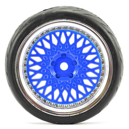 Fastrax 1:10 Street Tread Tyres on Classic Blue/Chrome Wheels (4)