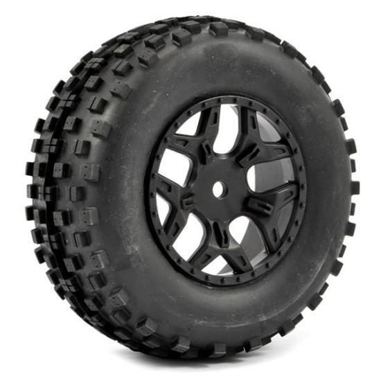 Fastrax 1:10 SC Rock Block Tyres Mounted on Slash Rear Wheels (2)