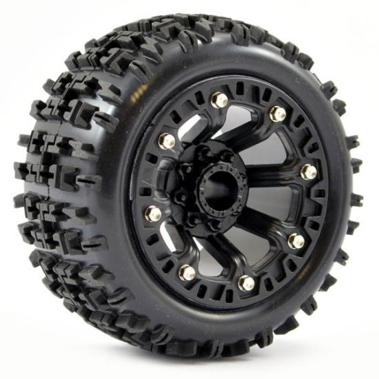 Fastrax 1:16 Jigsaw Tyres Mounted on Black 8SP 12mm Hex Wheels