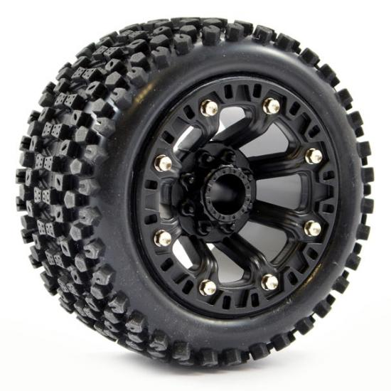 Fastrax 1:16 Stinger Tyres Mounted on Black 8SP 12mm Hex Wheels