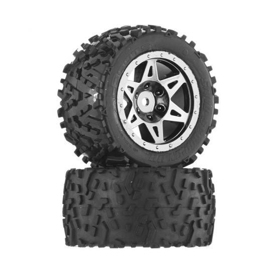 ARAC9637 Arrma DBoots Sand Scorpion DB Tire Set Glued (Black Chrome) (2Pcs/Rear)