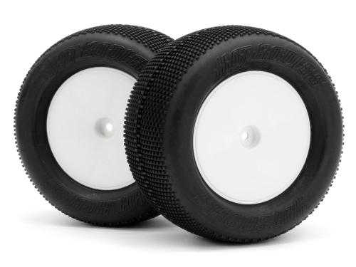 HPI Pre Glued Mini Pin Tyres on 14mm Hex White Wheels (2) ** CLEARANCE **