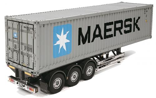Maersk 40ft Container and 3 Axle Trailer For Tamiya Tractor Units
