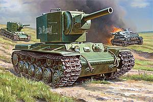 Zvesda 1/100 Soviet Tank Kv-2
